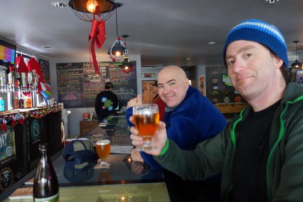 Apres skiing Mellow Fellow style. Truckee, CA.