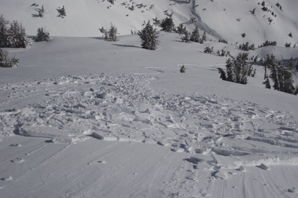 Rider triggered slab avalanche on February 1, 2016.  37 degrees, southeast face, elevation 8,700 feet, 8 inch crown.