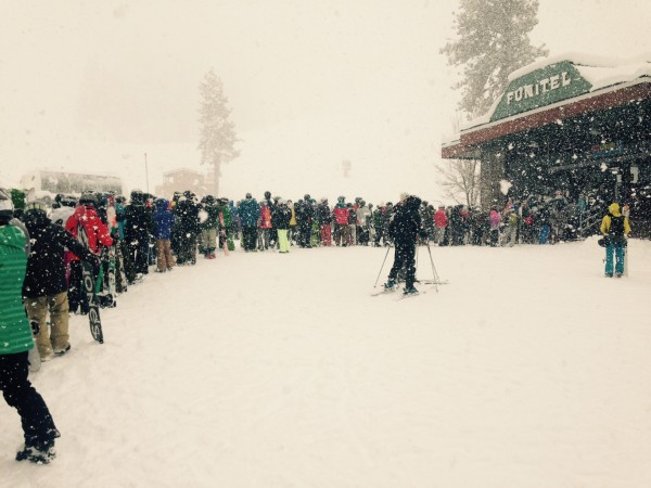 Squaw Valley Funitel line on February 28.