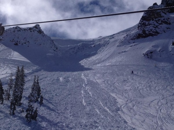 Fracture and avalanche debris from the Funnel into Shirley Bowl at Squaw.