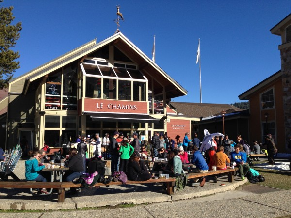 Apres skiers enjoy the Chammy on a warm Christmas Eve.
