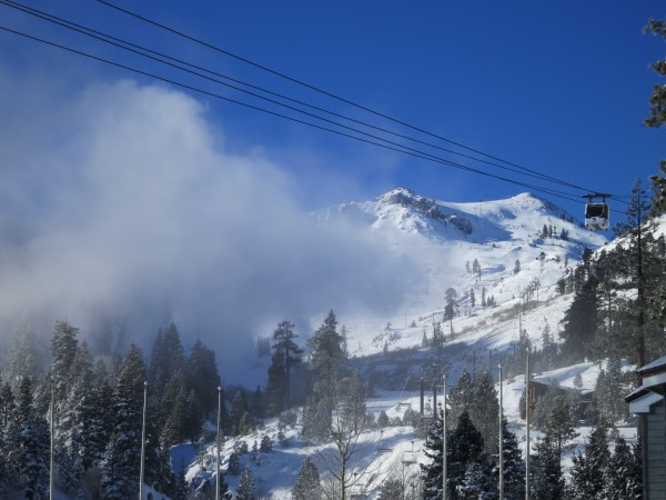 Snowmaking and low clouds over Squaw Valley last weekend.