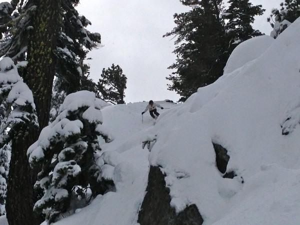 Susan McCormick drops into Alpine Meadows sidecountry.