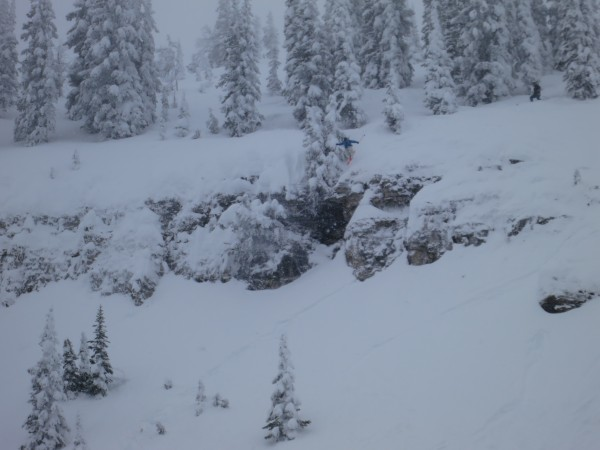 Hucking one of the steeper zones off the Sacajawea chair.