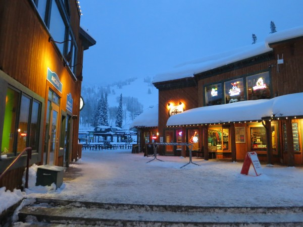 Evening descends on the Targhee Village.