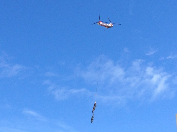 A Shinook Helicopter hauls trees down from the Red Dog / Heidi's area of Squaw Valley.