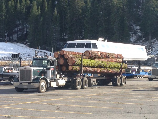 Lumber from the tree thinning project ready to be driven out of Squaw.