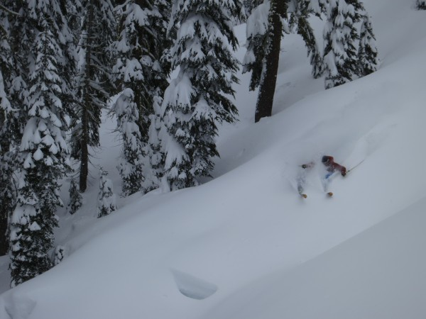 Kyle O'Neal slarves the West Shore backcountry on March 31.