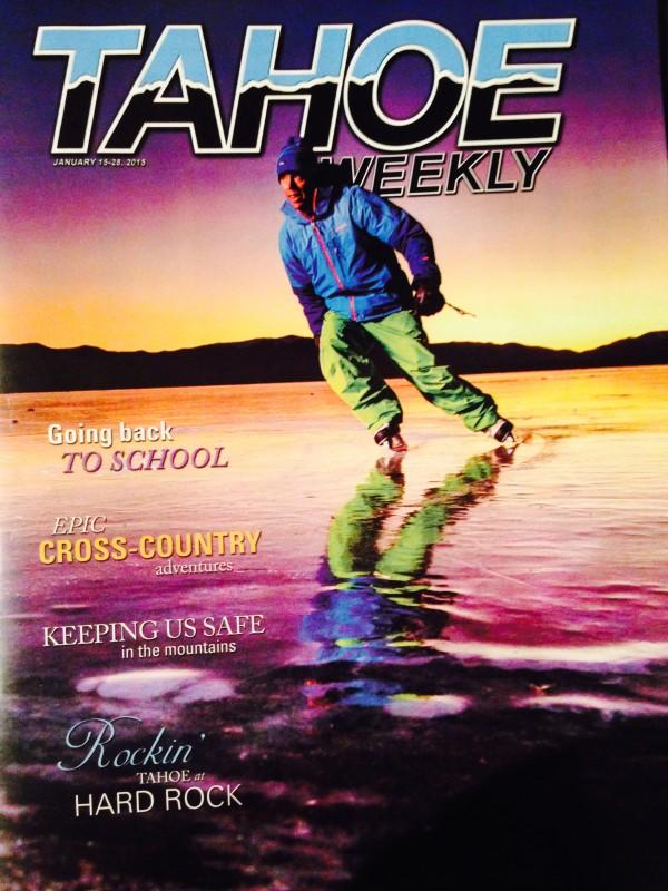 Tahoe Weekly cover photo of Robb Gaffney ice skating on Lake Tahoe.  Photo: Matt Bansak.
