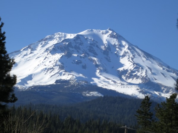 The alluring yet mysterious southeast face of Mt. Shasta as seen from McLoud.
