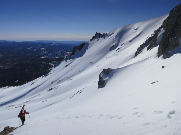 Chris Stewart approaches 9,000 feet on Mt. Lassen's north flank.