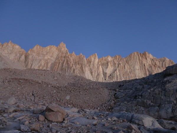 First light on the crest leading to Mt. Whitney.