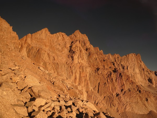 Mt. Whitney has the gradual ridge approach to the right, with Mt. Muir in the center.