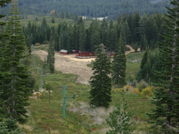 Poma lift and ski lodge at the old Eureka Ski Bowl.