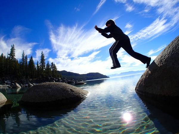 Noah Gaffney jumps for joy.