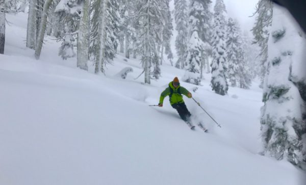 Sampling the product in the Truckee backcountry.