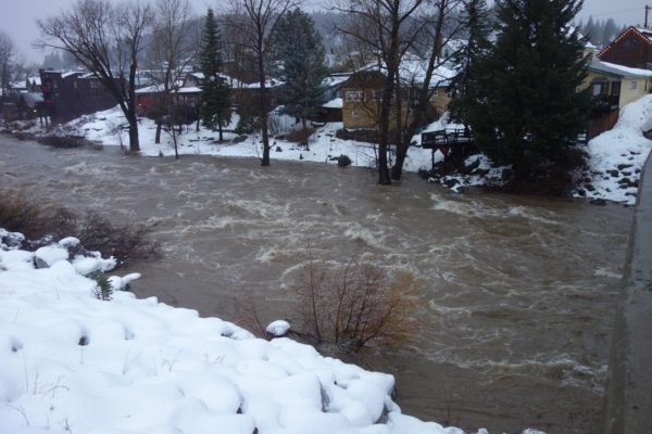 Truckee River on January 8 before rain turned to snow.